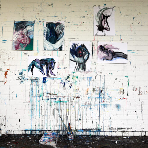 Nua Collective Artist Jennifer Smith - Works on paper, studio wall
