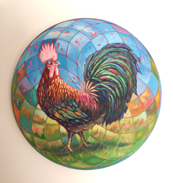 Alkalart_Concentric-Rooster_-50cm_-Acrylic-Oil-Nua-Collective