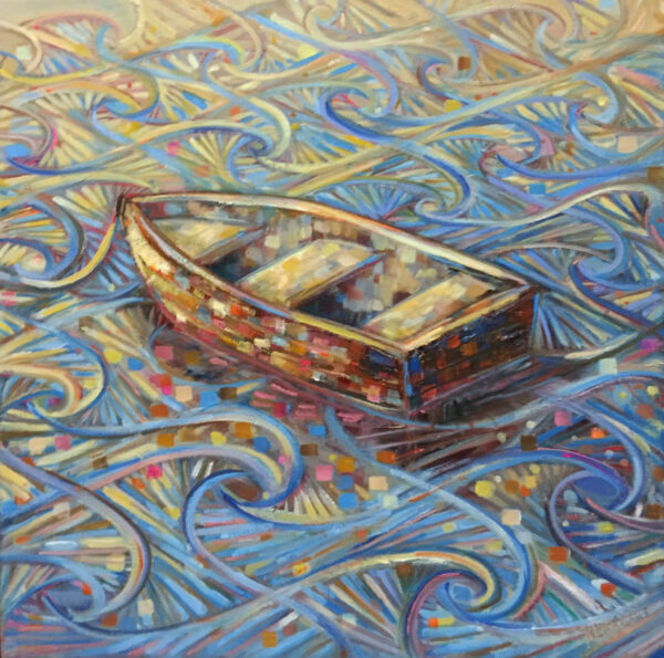 Alklart_Boat-on-a-pattern_-40x40cm_-Oil-and-Acrylics-Nua-Collective