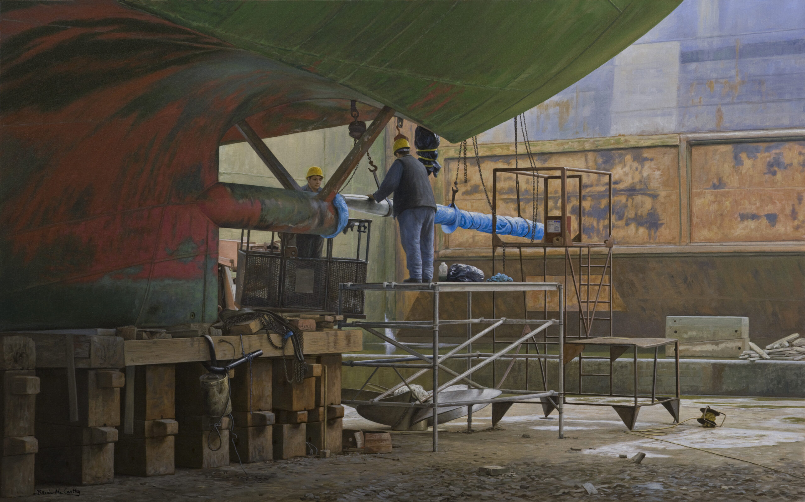 Fitting the Propeller Dublin Port Graving Docks by Brian McCarthy 2019 - Nua Collective - Artist