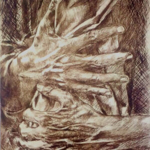 Hands intertwined - Drypoint etching plate - John Keating - Nua Collective - Artist