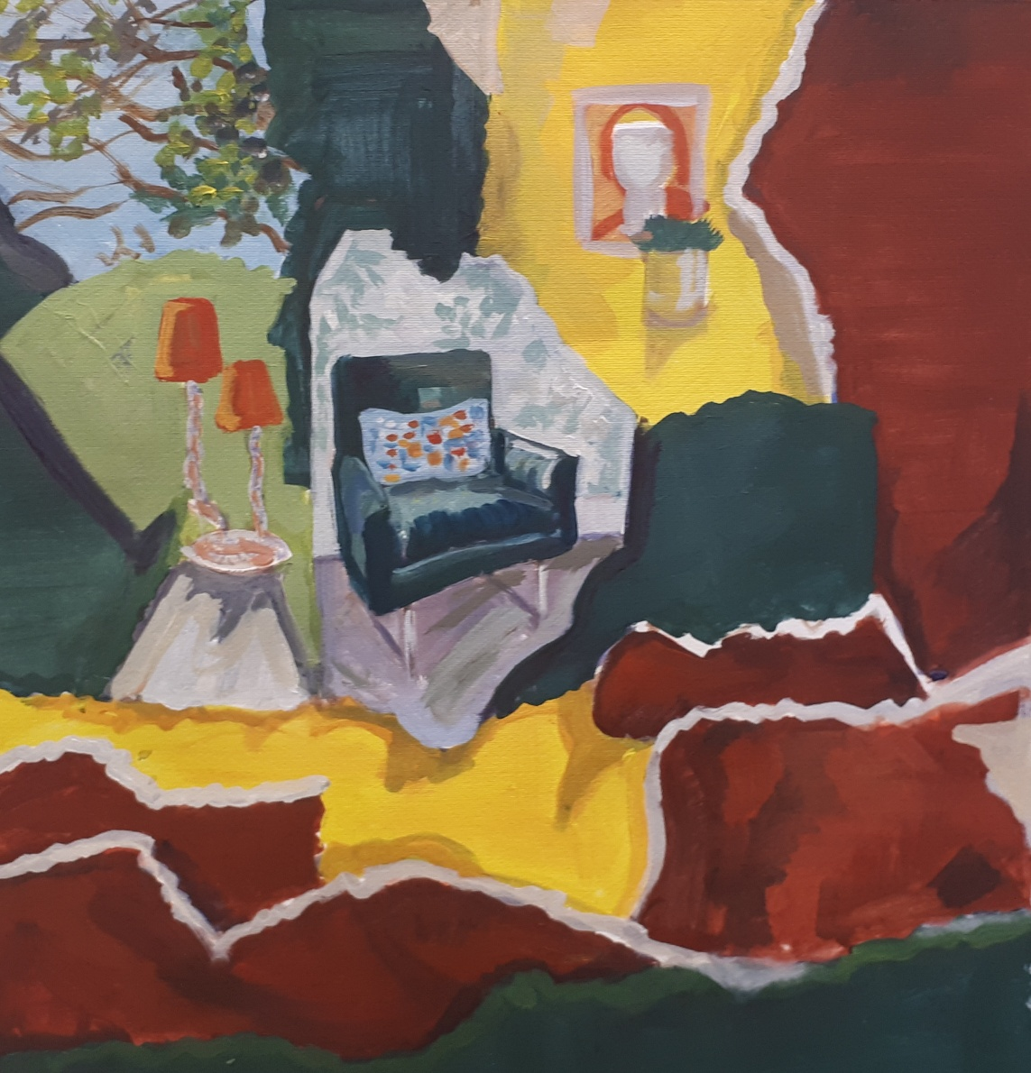 Nua Collective - Artist - Irene O Neill - Painting from Collage 'Home' Acrylic on paper 2019