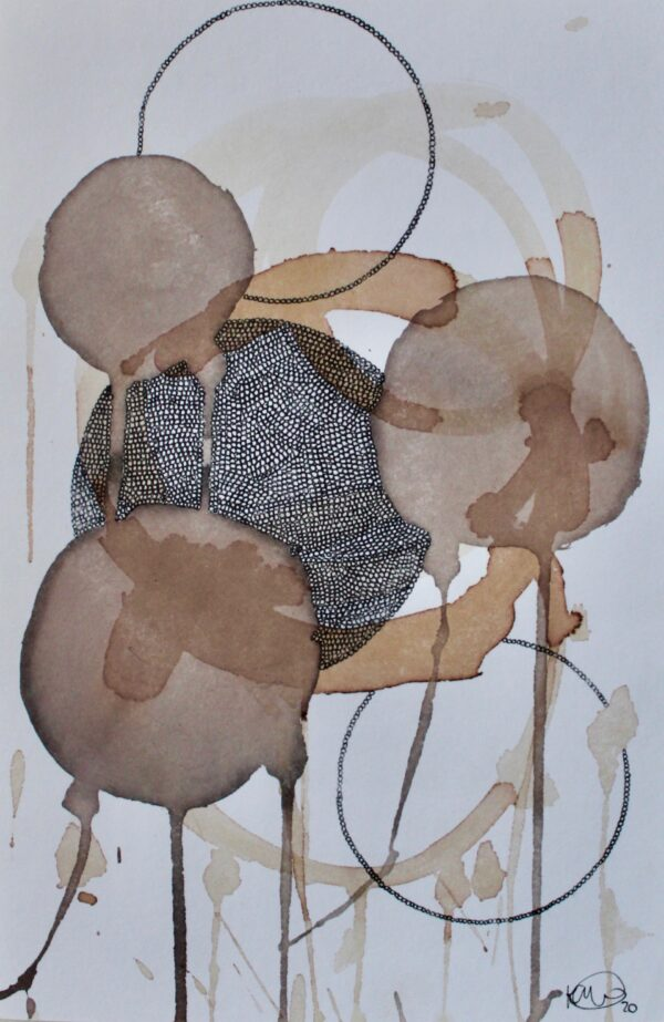 Kaitlynn Webster, Red Wine and Red Onion Skin I, red wine, red onion skin, and ink on paper, 2020-Nua-Collective