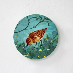 Nua Collective - Artist - Katrina Tracuma - Little stint, acrylic, ink and oil on canvas, 20cm in diameter, 2019