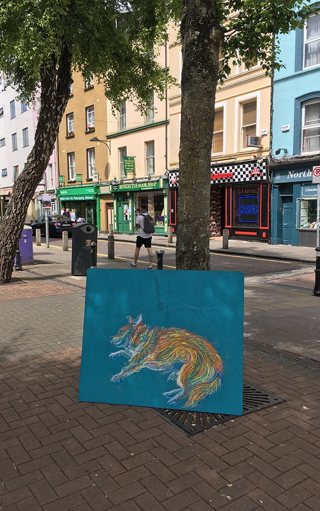 Katrina Tracuma - Nua Collective Artist - Lucky pastel drawing in the streets of Cork, 2019 copy