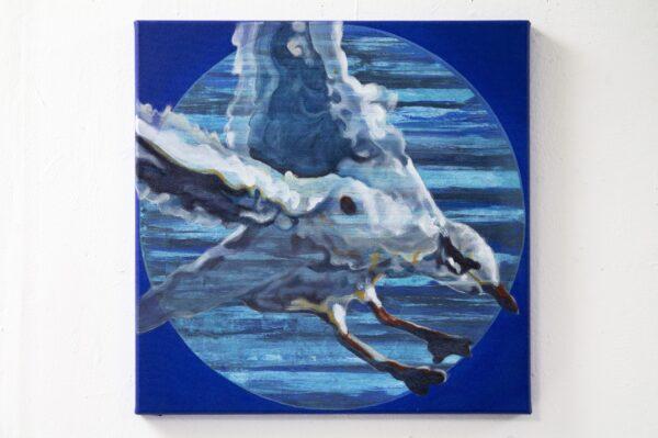Katrina-Tracuma-Mediterranean-gull-acrylic-ink-and-oil-on-canvas-40cm-by-40cm-Nua-Collective