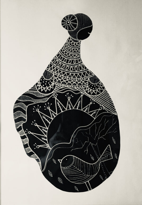 Kira-O-Brien-A-New-Day-Framed-Acrylic-and-Pen-Drawing-H46cm-x-39cm-Nua Collective - Artist