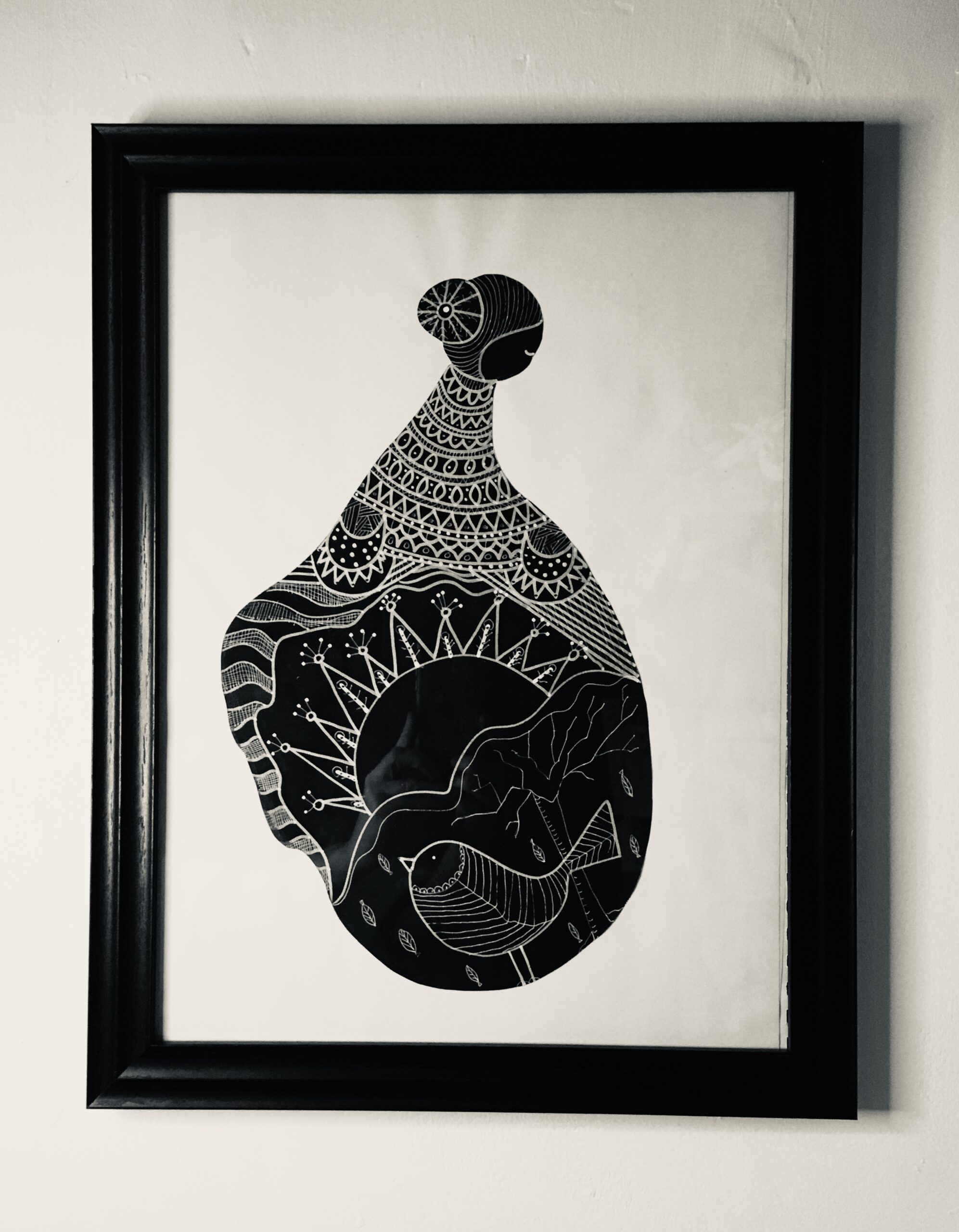 Kira-O-Brien-A-New-Day-Framed-Acrylic-and-Pen-Drawing-H46cm-x-39cm - Nua Collective