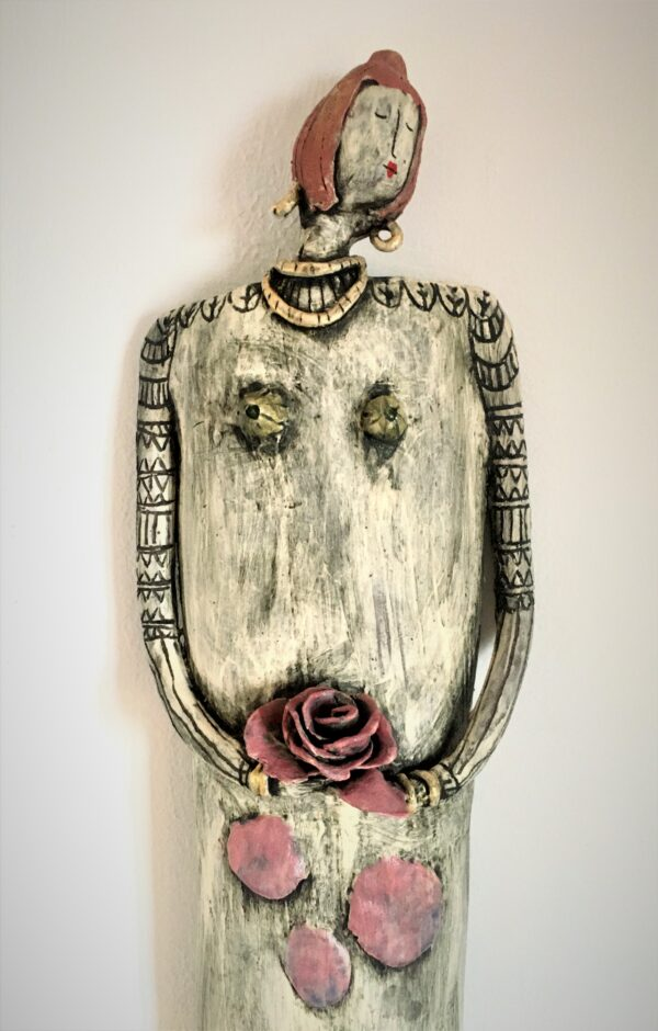 Kira O Brien A Rose By Any Other Name Large Sculptural Doll with Handprinted Lino print Skirt H60cm x W14cm-Nua-collective