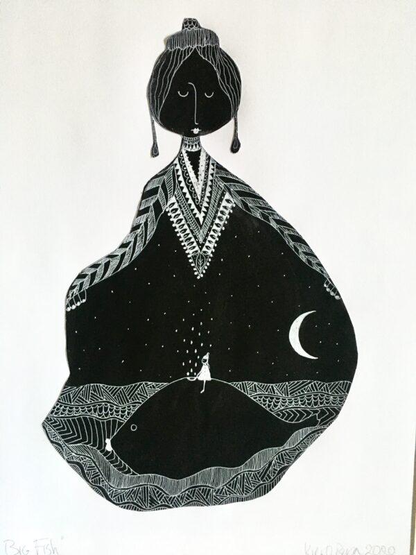 Kira o Brien Big Fish Pen & Acrylic drawing h50cm x w40cm - Nua Collective - Artist