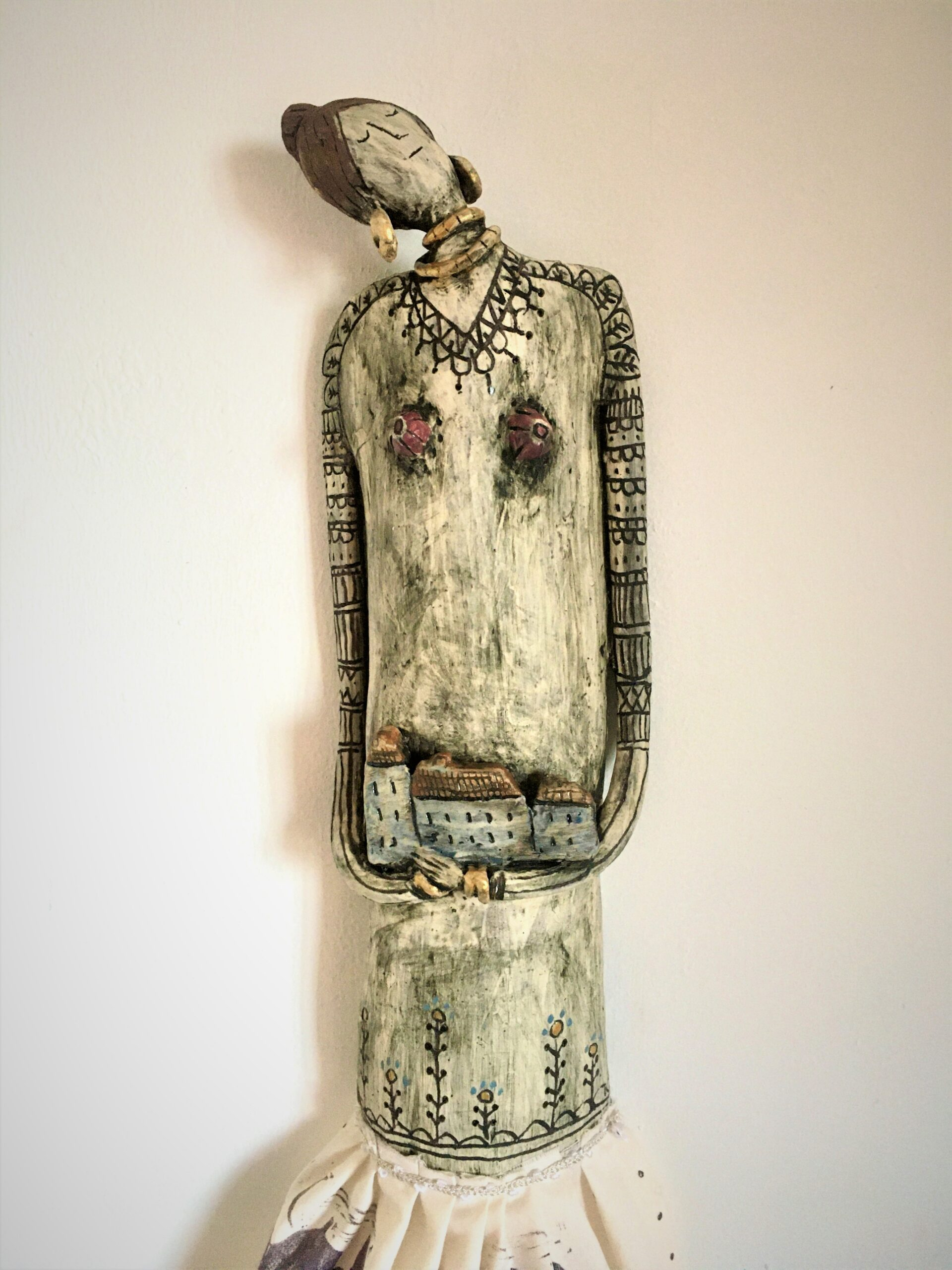Kira O Brien You And Me Equals Home Large Ceramic and Handprinted Lino Print on Textile Wall Doll H55cm x W14cm €650