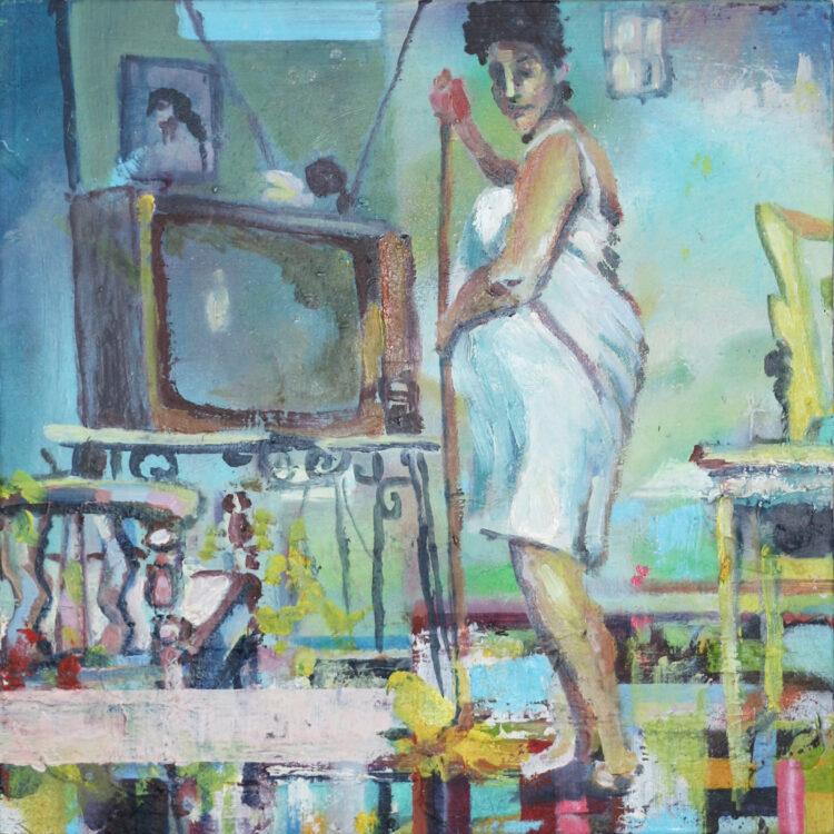 Linda Schliebitz- Woman Sweeping- oil on board-2011