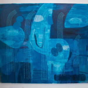 Mary O'Connor Flux and Flow II. Mixed media on Linen 120cm high x 135cm wide 2018-Nua Collective