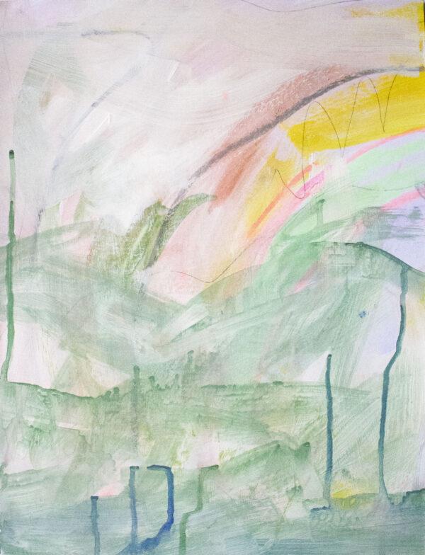 Róisín Bohan, Fluctuating Feelings 1, Acrylic, Pastel and Pencil on Paper, 2019 - Nua Collective - Artist
