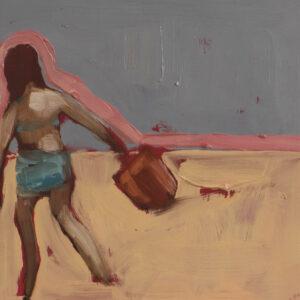 The new red bucket. Oil on ceramic tile, 20cm x 20cm, 2020 €149.50 copy